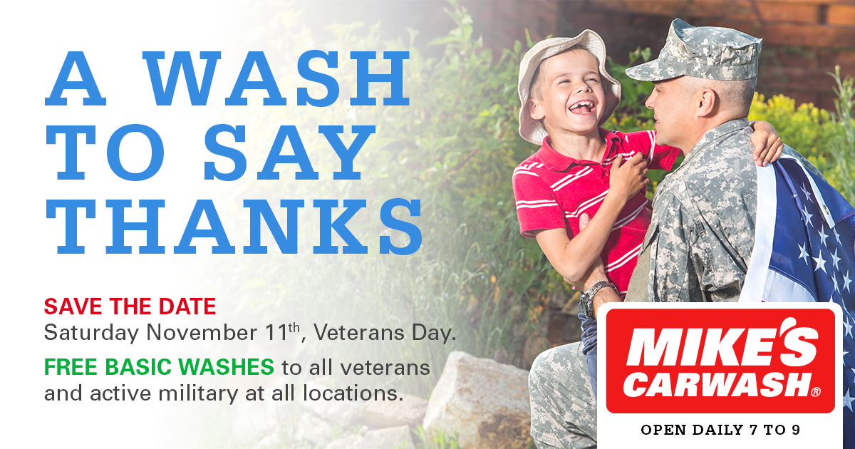 MIKE'S CARWASH Honors Veterans with Free Carwashes to Benefit Project Hero